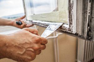 bow window. how to install new bow window. window installation process