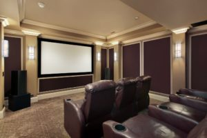 home theater. basement remodel. refinished basement ideas.