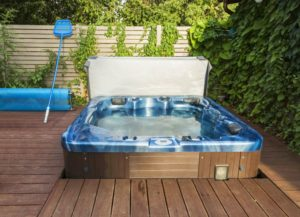 outdoor spa, deck with hot tub, outdoor living