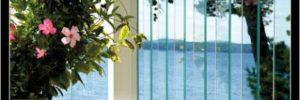 glass railing. modern decking design trend, new deck railing