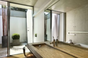 bathroom sink. modern bathroom sink ideas. concrete slab sink