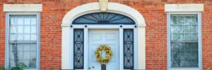 transom and sidelights. Install entry door. Front door design