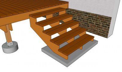 concrete pad, deck landing pad, building deck steps